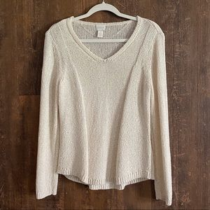Chico's | Samantha Cream Sequin Pullover Sweater